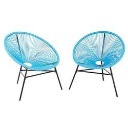 Zestaw 2 krzeseł rattanowych niebieskie ACAPULCO