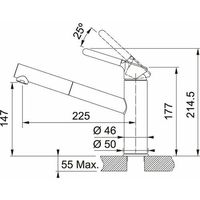 Baterie do kuchni, Bateria FRANKE Orbit 115.0623.057 Chrom/Onyx