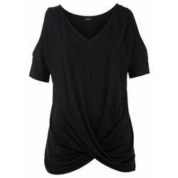 Shirt w prążek, ze sznurowaniem bonprix biel wełny