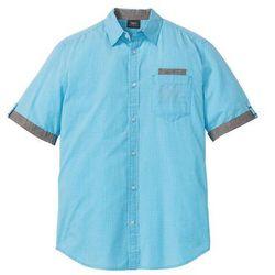 Koszula z krótkim rękawem w drobną kratę bonprix turkusowo-biały w kratę