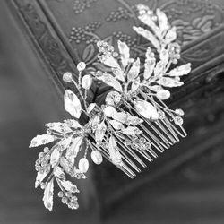 Ozdoba grzebyk do włosów ślubna cyrkonie srebrna