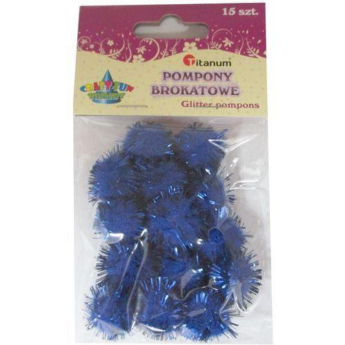 Kreatywne dla dzieci, Pompon brokatowy ciemnoniebieski. 15 sztuk. 338548. - Titanum