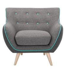 Fotel z tkaniny SERTI - Szary, antracytowe brzegi i turkusowa lamówka