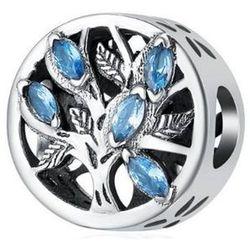 Rodowany srebrny charms pandora drzewo życia błękitne cyrkonie srebro 925 BEAD113
