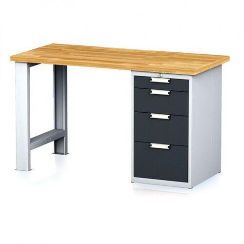 Stoły warsztatowe, Stół warsztatowy MECHANIC, 1500x700x880 mm, 1x szufladowy kontener, 4 szuflady, szary/antracyt