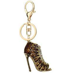 Brązowo-złoty breloczek botek do kluczy lub torebki - brązowy ||złoty