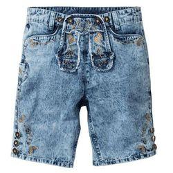 "Bermudy dżinsowe w ludowym stylu Regular Fit bonprix niebieski ""medium bleached used"
