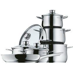 WMF Diadem Plus 730026040 6-częściowy zestaw garnków, garnek do smażenia, garnek do mięsa, patelnia, krawędź chroniąca przed wylewaniem się, szklana pokrywka