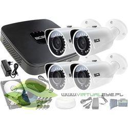 Monitoring zestaw na zewnątrz: Rejestrator BCS-XVR0401E + 4x BCS-TQ3200IR-E - Dysk 1TB + Akcesoria