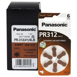 600 x baterie do aparatów słuchowych Panasonic 312 / PR312 / PR41