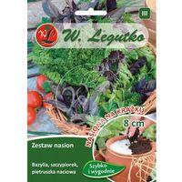 Nasiona, Zestaw nasion Bazylia, szczypiorek, pietruszka naciowa na krążku LEGUTKO 3 szt. 8cm