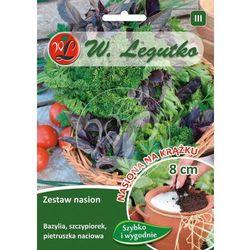 Zestaw nasion Bazylia, szczypiorek, pietruszka naciowa na krążku LEGUTKO 3 szt. 8cm