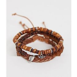 ASOS DESIGN leather and beaded bracelet pack with feather and coin charms - Brown