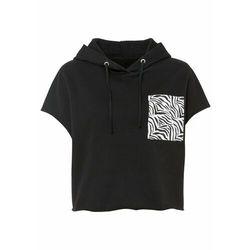 Bluza z kapturem bonprix czarno-biały w paski zebry