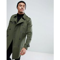 ASOS DESIGN shower resistant double breasted trench in khaki - Green
