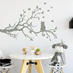 szablon do malowania kot na gałęzi 2382