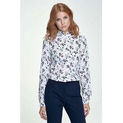 Bluzka Koszulowa ze Stójką Wzór w Kwiaty