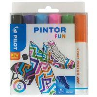 Markery, Marker PILOT Pintor M SET FUN mix kpl.6 czarny, fiolet, lazur, różowy, j.zielony