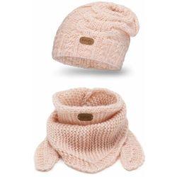 Zimowy komplet dziewczęcy PaMaMi- czapka i chusta - Jasny róż