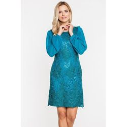 Koronkowa sukienka w odcieniu butelkowej zieleni - L'ame de Femme