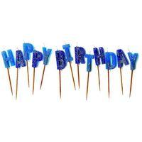 Świeczki, Zestaw świeczek na pikerach Happy Birthday niebieskie - 1 kpl.