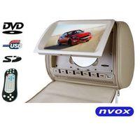 """Monitory samochodowe, NVOX JHT9008D BE Zagłówek multimedialny z maskownicą 9"""" cali HD DVD USB SD AV IR FM GRY"""