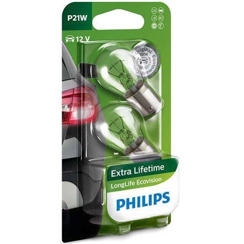 Pozostałe oświetlenie samochodu, Żarówki Philips® P21W LongLife EcoVision | 12V 21W BA15s | Blister 2 szt.