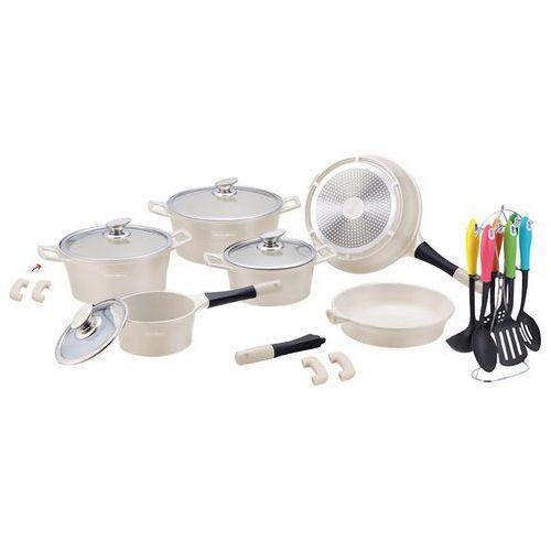 Garnki, 21 Elem. Zestaw Garnków z Powłoką Ceramiczną + Przybory kuchenne - RL-ES1021C CREAM