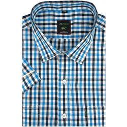 Duża Koszula Męska Laviino niebieska w kratkę na krótki rękaw duże rozmiary K922