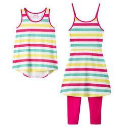 Sukienka shirtowa + top + legginsy 3/4 (kompl. 3-częściowy) bonprix biało-ciemnoróżowy