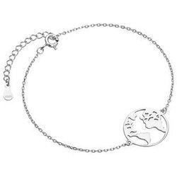 Elegancka rodowana srebrna bransoleta celebrytka mapa świata srebro 925 Z1726B