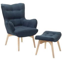 Fotel ciemnoniebieski + pufa - fotel tapicerowany - krzesło - VEJLE