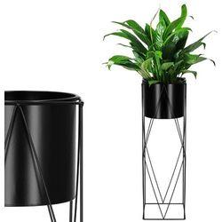 Stojak na kwiaty 70 cm z doniczką nowoczesny kwietnik loft czarny mat