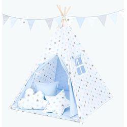 MAMO-TATO Namiot TIPI DUŻY z matą i poduszkami Gwiazdki szare i niebieskie duże / jasny błękit