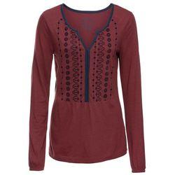 Tunika shirtowa z nadrukiem, długi rękaw bonprix czerwony kasztanowy