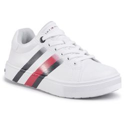Sneakersy TOMMY HILFIGER - Low Cut Lace-Up Sneaker T3B4-30721-0901100 M White 100