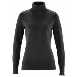 Sweter basic z golfem bonprix antracytowy melanż