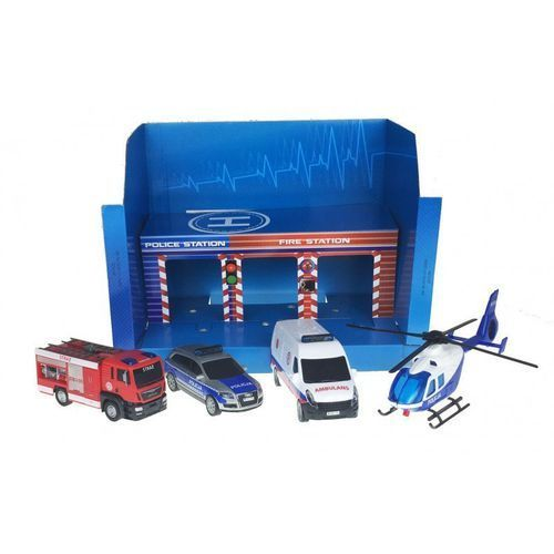 Garaże dla dzieci, SOS Zestaw pojazdów w garażu