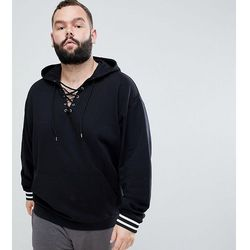 ASOS PLUS Oversized Hoodie With Lace Up Neck And Tipped Ribs - Black