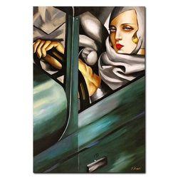 Obraz Kobieta w zielonym Bugatti