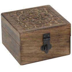 Drewniana szkatułka na drobiazgi, ciemne drewno