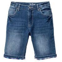"""Krótkie spodenki dziecięce, Bermudy dżinsowe z wywiniętymi nogawkami w kratę bonprix niebieski """"stone"""""""