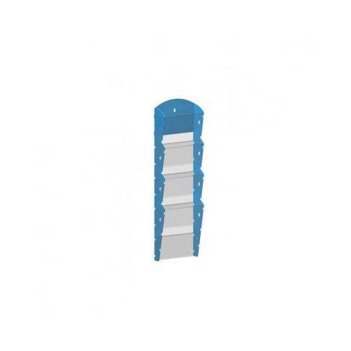 Ramy,stojaki i znaki informacyjne, Plastikowy uchwyt ścienny na ulotki - 1x4 A5, niebieski
