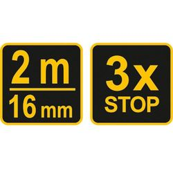 Miara zwijana żółto-czarna 2 m x 16 mm Vorel 10122 - ZYSKAJ RABAT 30 ZŁ