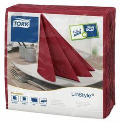 Bordowe serwetki obiadowe Tork Premium LinStyle®, składane w 1/4