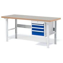 Stół warsztatowy Solid, zestaw z 4 szufladami, 500 kg, 1500x800 mm, winyl