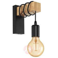 Kinkiet LAMPA ścienna TOWNSHEND 32917 Eglo industrialna OPRAWA przewód żarówka loft drewno czarna