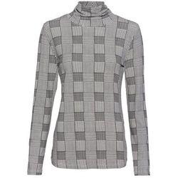 Shirt z długim rękawem i golfem bonprix czarno-biały w kratę