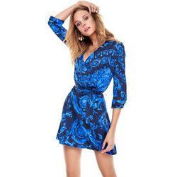 Sukienka Donatella czarna w niebieskie wzory