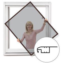 Moskitiera ramkowa okienna, Gotowa, z płetwą, brązowa, 70x150 cm